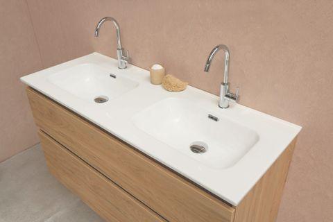 Bewonen Elegant badmeubel met porselein wastafel zonder kraangaten en onderkast 4 laden a-symmetrisch - Mat zwart/Glans wit - 120x46cm (bxd)