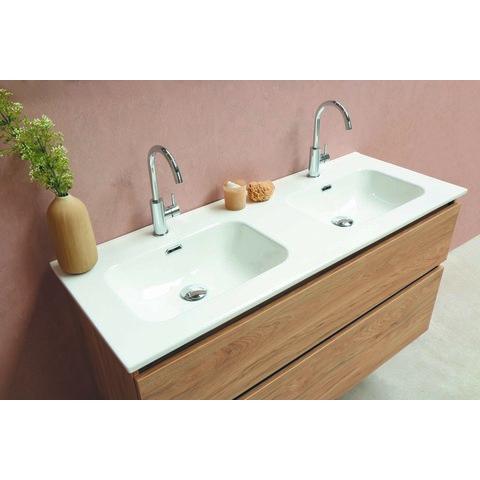 Bewonen Elegant badmeubel met keramische wastafel met 2 kraangaten en onderkast 4 laden a-symmetrisch - Raw oak - 120x46cm (bxd)