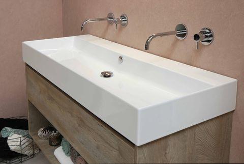 Bewonen Loft badmeubel met porselein wastafel met 1 kraangat en onderkast met schap - Raw oak/Glans wit - 100x46cm (bxd)