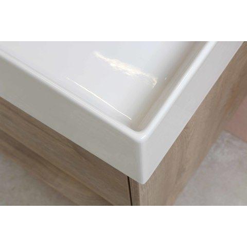 Bewonen Loft badmeubel met open vak met keramische wastafel met 2 kraangaten - Ideal oak - 100x46cm (bxd)