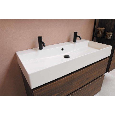 Bewonen Loft badmeubel met keramische wastafel met 1 kraangat en onderkast symmetrisch - Mat zwart - 80x46cm (bxd)