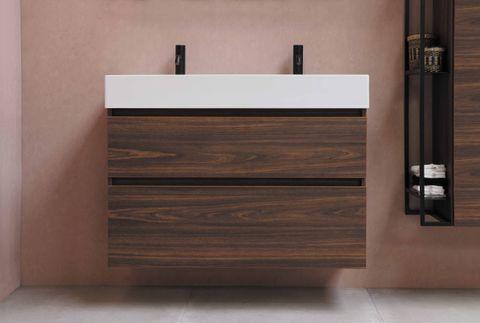 Bewonen Loft badmeubel met porselein wastafel met 1 kraangat en onderkast symmetrisch - Ideal oak/Glans wit - 100x46cm (bxd)