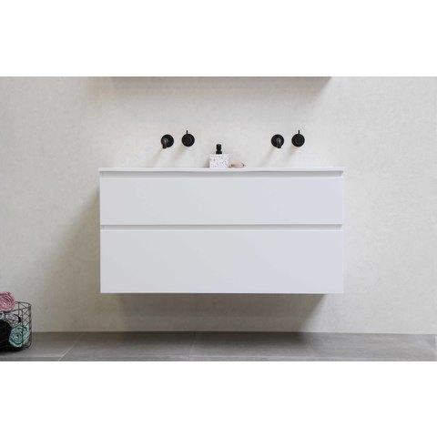 Bewonen Loft badmeubel met keramische wastafel met 2 kraangaten en onderkast symmetrisch - Mat wit - 120x46cm (bxd)