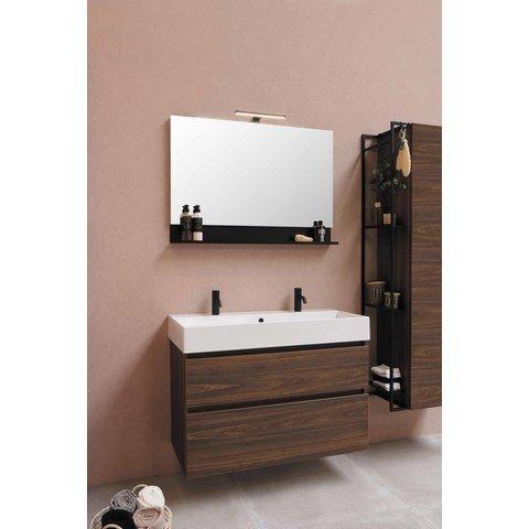 Bewonen Loft badmeubel met porselein wastafel met 2 kraangaten en onderkast symmetrisch - Mat wit/Glans wit - 120x46cm (bxd)
