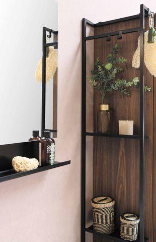 Bewonen Loft badmeubel met porselein wastafel met 1 kraangat en onderkast symmetrisch - Raw oak/Glans wit - 120x46cm (bxd)