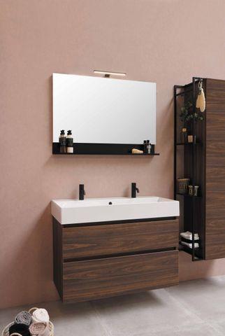 Bewonen Loft badmeubel met porselein wastafel met 1 kraangat en onderkast a-symmetrisch - Ideal oak/Glans wit - 100x46cm (bxd)