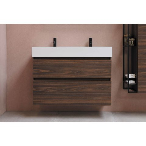 Bewonen Loft badmeubel met porselein wastafel met 1 kraangat en onderkast a-symmetrisch - Mat wit/Glans wit - 120x46cm (bxd)