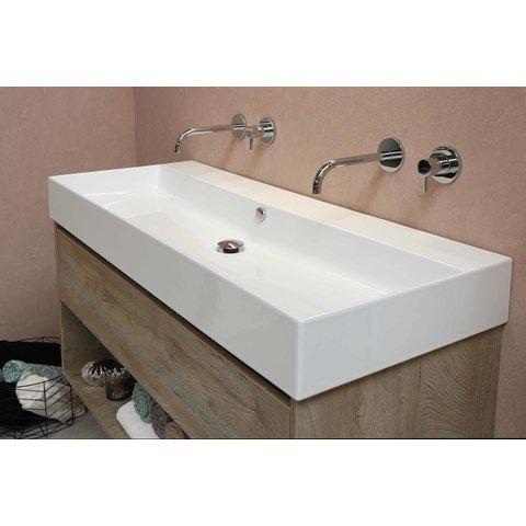 Bewonen Loft badmeubel met keramische wastafel met 2 kraangaten en onderkast a-symmetrisch - Raw oak - 120x46cm (bxd)