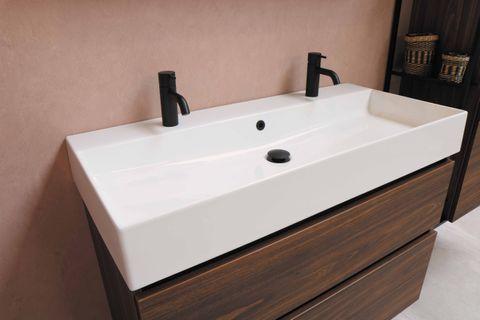 Proline Loft badmeubel met keramische wastafel zonder kraangat en onderkast a-symmetrisch - Ideal oak - 120x46cm (bxd)
