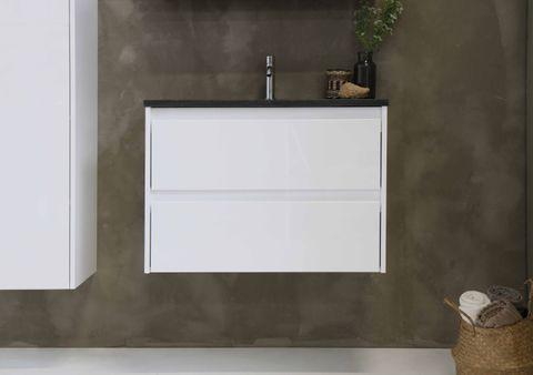 Bewonen Elegant badmeubel met hardsteen wastafel zonder kraangat en onderkast symmetrisch - Glans wit/Blue stone - 60x46cm (bxd)