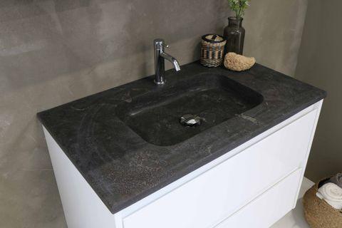 Bewonen Elegant badmeubel met hardsteen wastafel zonder kraangat en onderkast symmetrisch - Mat zwart/Blue stone - 80x46cm (bxd)