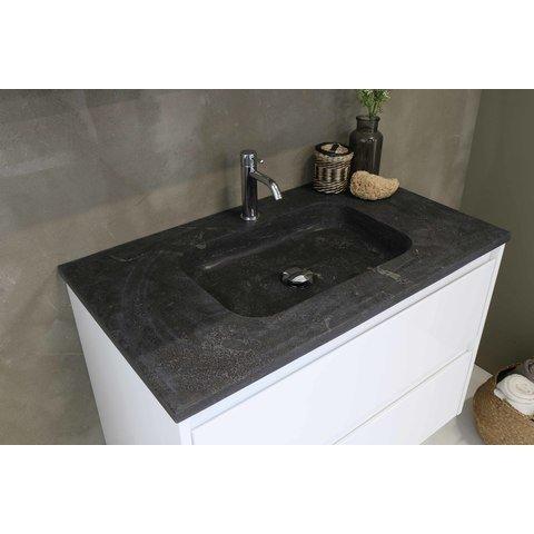 Bewonen Elegant badmeubel met hardsteen wastafel met 1 kraangat en onderkast symmetrisch - Mat zwart/Blue stone - 80x46cm (bxd)