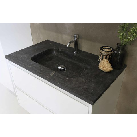 Bewonen Elegant badmeubel met hardsteen wastafel met 1 kraangat en onderkast symmetrisch - Glans wit - 100x46cm (bxd)