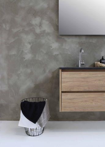 Bewonen Elegant badmeubel met hardsteen wastafel zonder kraangat en onderkast symmetrisch - Mat zwart/Blue stone - 120x46cm (bxd)