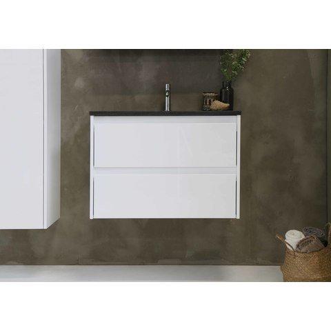 Bewonen Elegant badmeubel met hardsteen wastafel zonder kraangat en onderkast a-symmetrisch - Glans wit/Blue stone - 80x46cm (bxd)