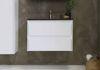 Bewonen Elegant badmeubel met hardsteen wastafel zonder kraangat en onderkast a-symmetrisch - Mat wit/Blue stone - 80x46cm (bxd)