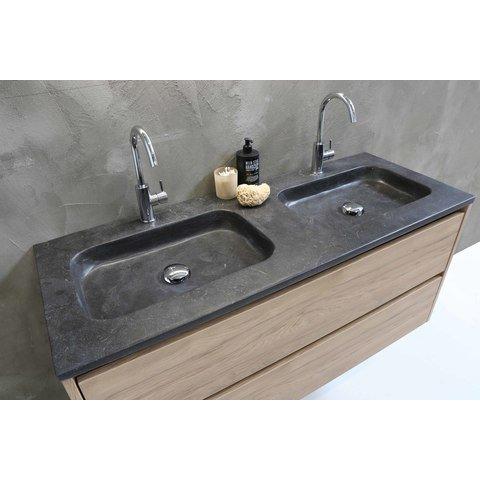 Proline Elegant badmeubel met hardsteen wastafel zonder kraangat en onderkast a-symmetrisch - Raw oak - 80x46cm (bxd)