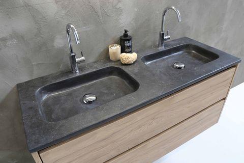 Bewonen Elegant badmeubel met hardsteen wastafel met 2 kraangaten en onderkast 4 laden a-symmetrisch - Mat wit/Blue stone - 120x46cm (bxd)