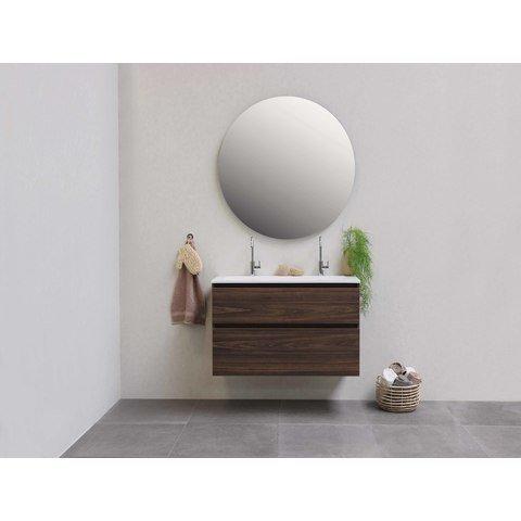 Bewonen Elegant badmeubel met polystone wastafel met 1 kraangat en onderkast met schap - Ideal oak/Glans wit - 60x46cm (bxd)
