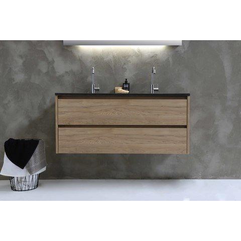 Bewonen Elegant badmeubel met open vak met polystone wastafel met 2 kraangaten - Ideal oak/Glans wit - 120x46cm (bxd)