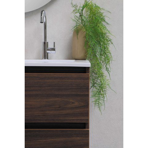 Bewonen Elegant badmeubel met polystone wastafel zonder kraangat en onderkast symmetrisch - Raw oak/Glans wit - 60x46cm (bxd)