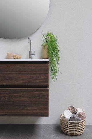 Bewonen Elegant badmeubel met polystone wastafel zonder kraangat en onderkast symmetrisch - Glans wit/Glans wit - 80x46cm (bxd)
