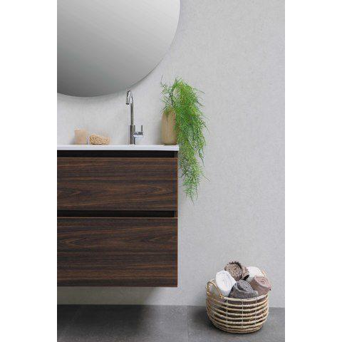 Bewonen Elegant badmeubel met polystone wastafel met 1 kraangat en onderkast symmetrisch - Mat zwart/Mat wit - 80x46cm (bxd)