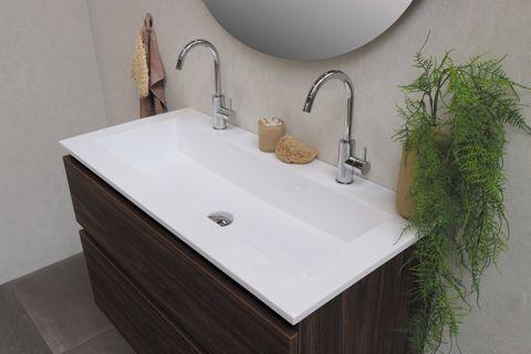 Bewonen Elegant badmeubel met polystone wastafel met 2 kraangaten en onderkast symmetrisch - Glans wit/Glans wit - 100x46cm (bxd)