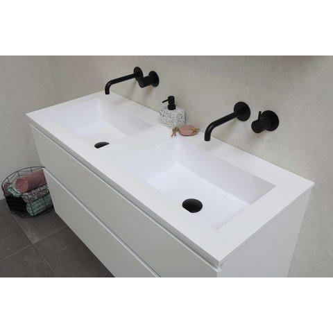 Bewonen Elegant badmeubel met polystone wastafel met 2 kraangaten en onderkast symmetrisch - Glans wit/Mat wit - 100x46cm (bxd)