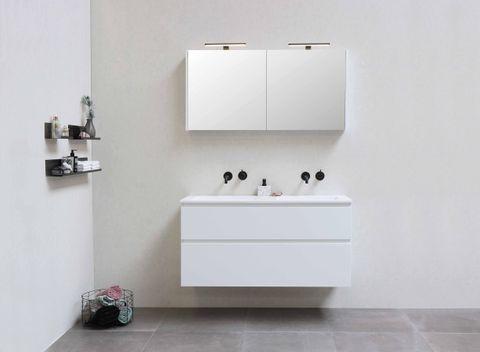 Bewonen Elegant badmeubel met polystone wastafel met 2 kraangaten en onderkast symmetrisch - Glans wit/Mat wit - 120x46cm (bxd)