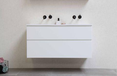 Bewonen Elegant badmeubel met polystone wastafel zonder kraangaten en onderkast symmetrisch - Mat zwart/Mat wit - 120x46cm (bxd)