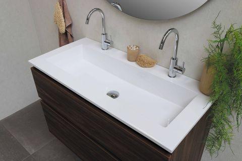 Bewonen Elegant badmeubel met polystone wastafel zonder kraangat en onderkast a-symmetrisch - Cabana oak/Glans wit - 60x46cm (bxd)