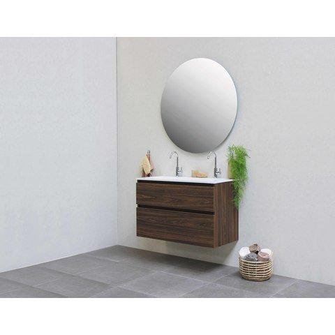 Bewonen Elegant badmeubel met polystone wastafel zonder kraangat en onderkast a-symmetrisch - Cabana oak/Mat wit - 80x46cm (bxd)