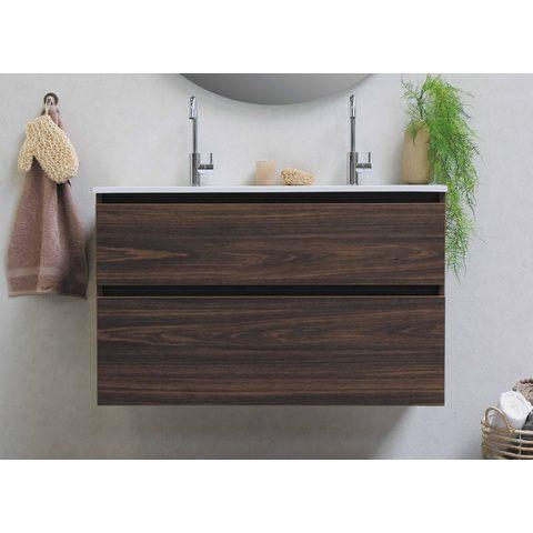 Bewonen Elegant badmeubel met polystone wastafel zonder kraangat en onderkast a-symmetrisch - Raw oak/Mat wit - 100x46cm (bxd)
