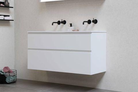 Bewonen Elegant badmeubel met polystone wastafel zonder kraangaten en onderkast a-symmetrisch - Glans wit/Glans wit - 120x46cm (bxd)