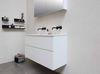 Bewonen Elegant badmeubel met polystone wastafel zonder kraangaten en onderkast a-symmetrisch - Mat wit/ Mat wit - 120x46cm (bxd)