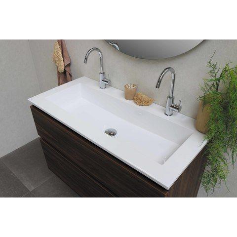 Bewonen Elegant badmeubel met polystone wastafel met 2 kraangaten en onderkast a-symmetrisch - Cabana oak/Glans wit - 120x46cm (bxd)