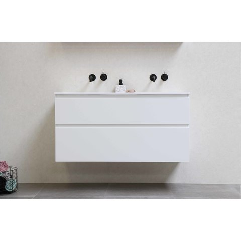 Bewonen Elegant badmeubel met polystone wastafel met 2 kraangaten en onderkast 4 laden a-symmetrisch - Mat wit/Glans wit - 120x46cm (bxd)