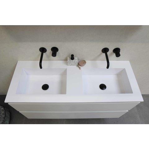 Bewonen Elegant badmeubel met polystone wastafel zonder kraangaten en onderkast 4 laden a-symmetrisch - Raw oak/Mat wit - 120x46cm (bxd)