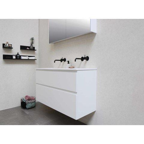 Bewonen Elegant badmeubel met polystone wastafel met 2 kraangaten en onderkast 4 laden a-symmetrisch - Raw oak/Mat wit - 120x46cm (bxd)