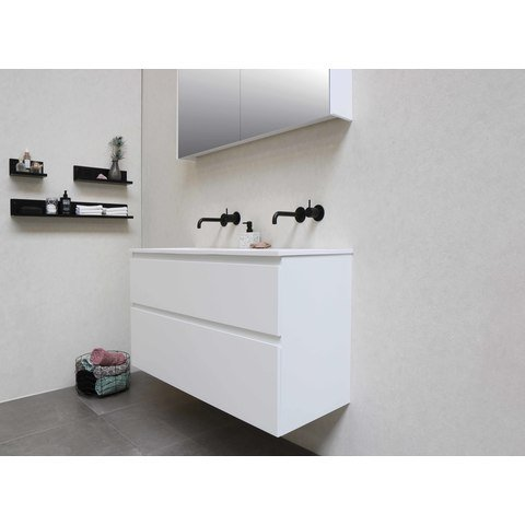 Bewonen Elegant badmeubel met polystone wastafel met 2 kraangaten en onderkast 4 laden a-symmetrisch - Ideal oak/Mat wit - 120x46cm (bxd)