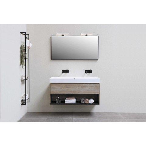 Bewonen Loft badmeubel met polystone wastafel zonder kraangat en onderkast met schap - Ideal oak/Mat wit - 60x46cm (bxd)