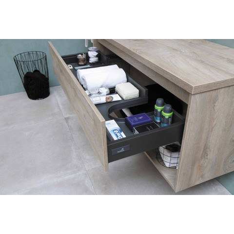 Bewonen Loft badmeubel met open vak met polystone wastafel met 1 kraangat - Raw oak/Glans wit - 80x46cm (bxd)