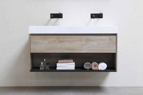 Bewonen Loft badmeubel met polystone wastafel met 1 kraangat en onderkast met schap - Raw oak/Mat wit - 80x46cm (bxd)
