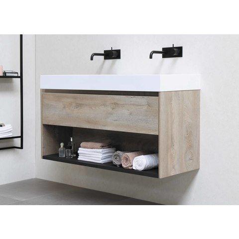 Bewonen Loft badmeubel met polystone wastafel zonder kraangat en onderkast met schap - Ideal oak/Glans wit - 80x46cm (bxd)