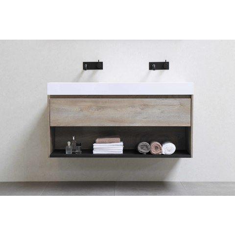 Bewonen Loft badmeubel met open vak met polystone wastafel met 2 kraangaten - Cabana oak/Mat wit - 100x46cm (bxd)