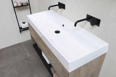 Bewonen Loft badmeubel met polystone wastafel met 2 kraangaten en onderkast met schap - Cabana oak/Glans wit - 120x46cm (bxd)