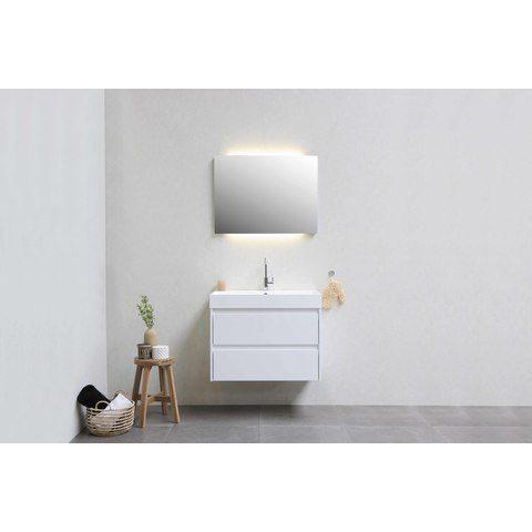 Bewonen Loft badmeubel met polystone wastafel met 1 kraangat en onderkast symmetrisch - Glans wit/Glans wit - 60x46cm (bxd)