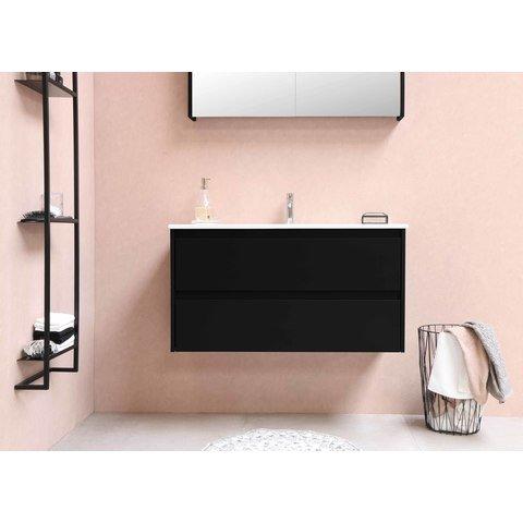 Bewonen Loft badmeubel met polystone wastafel zonder kraangat en onderkast symmetrisch - Mat zwart/Glans wit - 60x46cm (bxd)