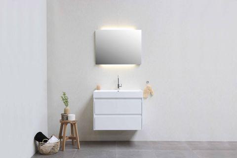 Bewonen Loft badmeubel met polystone wastafel zonder kraangat en onderkast symmetrisch - Mat zwart/Glans wit - 80x46cm (bxd)